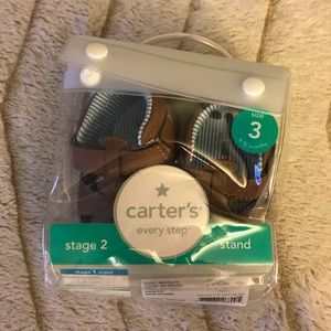 Carters size 3 brown shoes, never opened